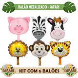 6 Balão Metalizado Safari Animais Para Centro De Mesa 32x24 - SPMIX SHOP