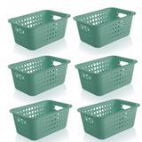 6 Caixa Organizadora Plástico 5l Casa Organize Cesto Closet Verde Menta - Ou