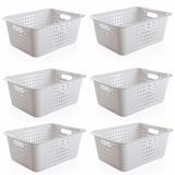 6 Caixas Organizadoras Grande Organize Cesto Plástico 14,5 Litros Branco - Ou