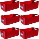 6 Cestas Organizadoras Plástica Grande Empilhável Coza Color Vermelha