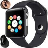 A1 Relógio Inteligente Smart Watch Bluetooth Chip Android + Mini Fone de ouvido Bluetooth Preto