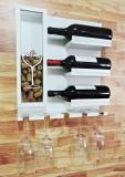 Adega de Madeira MDF Suporte Vinhos Porta taças Porta Rolhas Decoração 41x45cm Branco - Soul fins