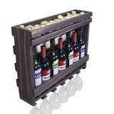 Adega De Madeira Mini Bar Parede Para Vinhos Com Porta Taças - Diversidadesul móveis