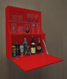 Adega Mini Bar Armário Suspenso para Bebidas Copos e Taças Porta Basculante - Vermelho Laca - Formalivre