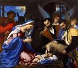 Adoração dos Pastores - Lorenzo Lotto - Tela 50x57 Para Quadro - Santhatela