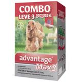 Advantage max 3 comobo leve 3 pague 2 antipulgas e carrapatos para cães entre 10 e 25kg 2,5ml - Bayer