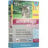 Advantage max3 1ml combo 3 pipetas para cães entre 1-10kg validade 02/21 bayer