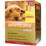 Advocate caes combo 3 pipetas 2,5 ml cães entre 10-25 kg validade 11/21 bayer
