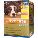 Advocate caes combo 3 pipetas 4 ml cães entre 25-40 kg validade 01/22 bayer