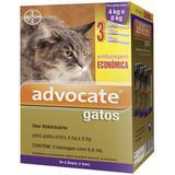 Advocate gatos combo 3 pipetas 0,8 ml gatos entre 4-8 kg validade 02/22 bayer
