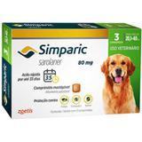 Anti pulga e carrapato - Simparic 80 mg - 3 comprimidos - Zoetis
