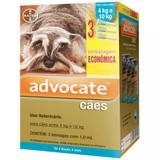 Anti pulgas Advocate Cães de 4 a 10kg com 3 pipetas Bayer