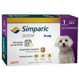 Anti Pulgas Zoetis Simparic 10 Mg Para Cães 2,6 A 5 Kg 1CP