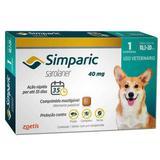 Anti Pulgas Zoetis Simparic 40 Mg Para Cães 10 A 20 Kg 1CP