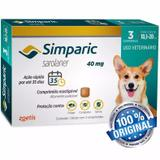 Antipulgas Cães 10,1 A 20 Kg Simparic 40mg Com 3 Comprimidos - Zoetis