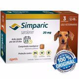 Antipulgas Cães 5,1 A 10 Kg Simparic 20mg Com 3 Comprimidos - Zoetis