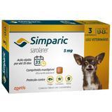 Antipulgas, Carrapatos e Sarnas Simparic 5 mg (Sarolaner) para Cães de 1,3 a 2,5 kg - Zoetis (3 comprimidos)