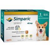 Antipulgas E Carrapatos Zoetis Simparic 40mg Para Cães 10,1 A 20kg Com 1 Comprimidos