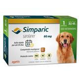 Antipulgas E Carrapatos Zoetis Simparic 80mg Para Cães 20,1 A 40kg Com 1 Comprimidos