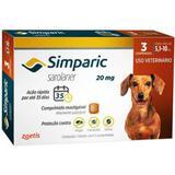 Antipulgas E Carrapatos Zoetis Simparic Para Cães 5,1 A 10kg 20mg Com 3 Comprimidos