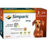 Antipulgas simparic 20 mg para cães entre 5,1 a 10 kg cx c/ 3 comprimidos zoetis validade 02/21