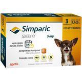Antipulgas simparic 5 mg para cães entre 1,3 a 2,5 kg cx c/ 3 comprimidos zoetis validade 06/20