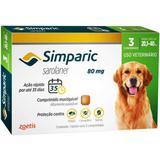 Antipulgas simparic 80 mg para cães entre 20,1 a 40 kg cx c/ 3 comprimidos zoetis validade 12/20