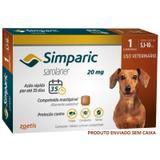 Antipulgas simparic cães 5,1 a 10kg 1 comprimido 20mg avulso