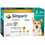 Antipulgas Zoetis Simparic 40 Mg Para Cães 10,1 A 20 Kg - 3 Comprimidos