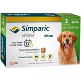 Antipulgas Zoetis Simparic 80 Mg para Cães 20,1 a 40 Kg - 3 Comprimidos