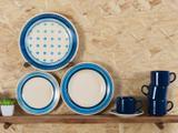 Aparelho de Jantar 20 Peças Biona Cerâmica - Redondo Branco e Azul Donna