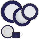 Aparelho De Jantar 20 Peças Branco E Azul Royal Blue Germer