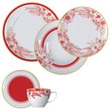 Aparelho De Jantar 20 Peças Porcelana Carmim Branco E Vermelho Germer