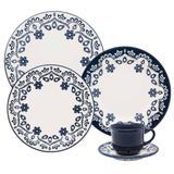 Aparelho De Jantar 30 Peças Floreal Energy Branco E Azul Oxford