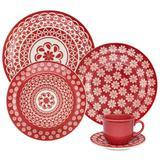 Aparelho De Jantar 30 Peças Oxford - Cerâmica Redondo Floreal Renda