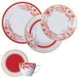 Aparelho De Jantar 30 Peças Porcelana Carmim Branco E Vermelho Germer