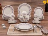 Aparelho de Jantar Chá 30 Peças Biona Cerâmica - Redondo Branco e Roxo Donna Maia