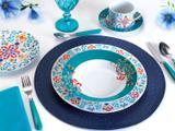 Aparelho de Jantar Chá 30 Peças Casambiente - Porcelana Redondo Colorido Madrid APJA029