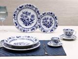 Aparelho de Jantar Chá Café 42 Peças Schmidt - Porcelana Redondo Branco e Azul Plus Cebolinha