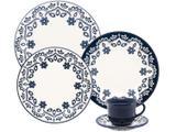 Aparelho de Jantar e Chá 30 Peças Oxford Daily - Cerâmica Redondo Branco e Azul Floreal
