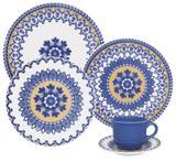 Aparelho de Jantar Floreal La Carreta 30 Peças Branco e Azul - Oxford