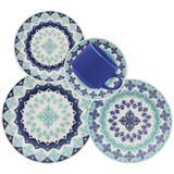Aparelho De Jantar Oxford Lola Cerâmica 20 Peças Azul
