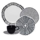 Aparelho De Jantar Oxford Porcelana 30 Peças Ryo Ink Branco/Preto