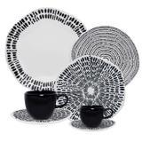 Aparelho De Jantar Oxford Porcelana 42 Peças Ryo Ink Branco/Preto