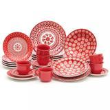 Aparelho de Jantar Vermelho 30 peças Renda  Oxford Porcelanas