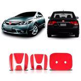 Aplique Vermelho Emblema New Civic Traseiro E Frontal 06/11 - Sportinox