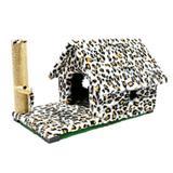 Arranhador Casa Gato Chalé Com Varanda Estampa Animal - Murano