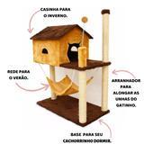 Arranhador Casinha Para Gatos Bege e Marrom - Pet in box