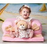 Assento Cadeirinha Estofada para Bebê Menina Ursinha Rosa - Sônia enxovais