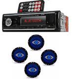 Auto Radio Automotivo Bluetooth Mp3 Player Usb Sd e Kit 4 Alto Auto Falantes Hurricane 6 Polegadas